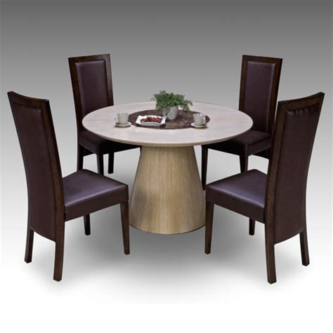Retro round marble dining table 4 retro elm chairs 15674