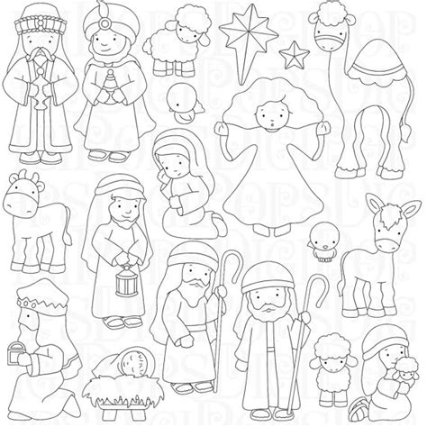 nativity set coloring page nativity character coloring pages