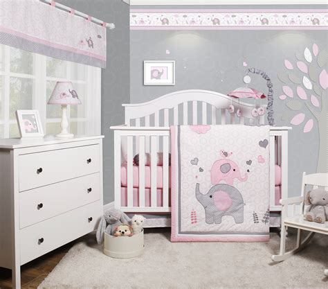 grey nursery bedding set optimababy pink grey elephant 6 baby nursery crib bedding set walmart