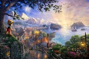 pinocchio walt disney animation studios thomas kinkade mixed media fantasy art