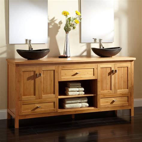 bathrooms cabinets vanities 72 quot alcott bamboo double vessel sink vanity vessel sink