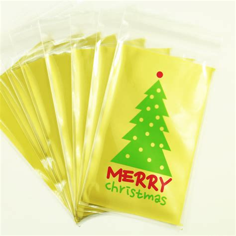 gift plastic wrap 10pcs green tree bread cookie gift clear