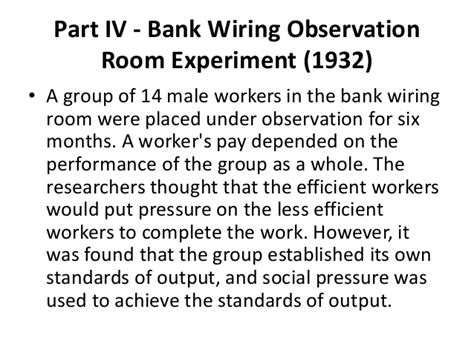 bank wiring observation room experiment hawthorne experiments