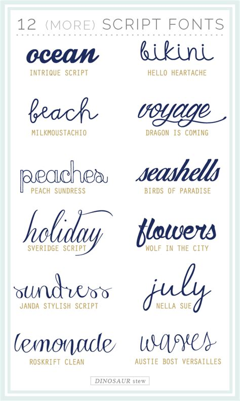 printable beach fonts twelve more script fonts these are free too dinosaur stew