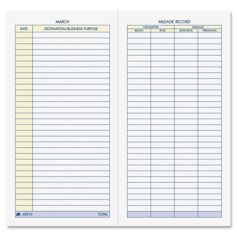 interdepartmental delivery template afr10 vehicle mileage log 64 sheet s 3 1 4 quot x 6 1
