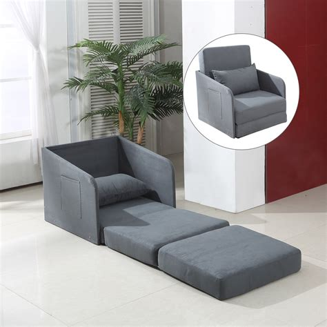 single chair sofa bed for sale homcom faux suede single sofa bed w pillow grey aosom co uk