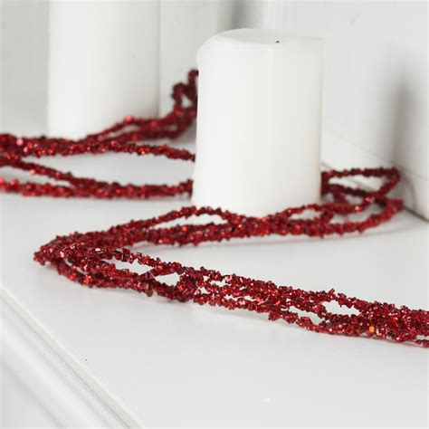 red sparkling bead and glitter garland christmas