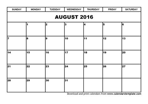 Drive Calendar Template 2016 Image Gallery July And August 2016 Calendar