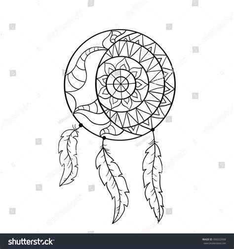 coloring pages moon dreamcatcher dream catcher symbol sun moon ethnic stock vector