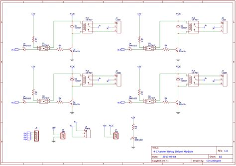 4 channel relay driver circuit diagram on pcb