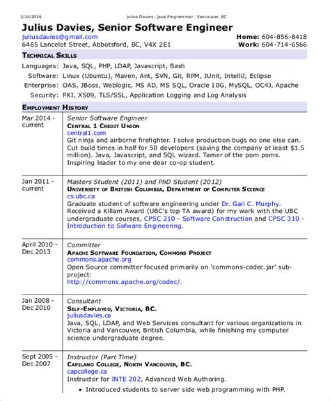 Software Engineer Resume Template by Software Engineer Resume Exle 10 Free Word Pdf
