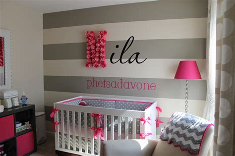 striped accent wall transitional girl s room gray and white dots and stripes baby crib bedding