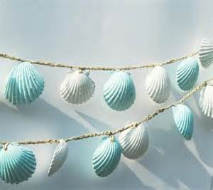 Seashell Decorations Home seashell garland beach wedding decorations blue and white sea shell