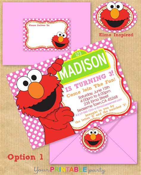 elmo invitations template elmo invitation 5x7 with address by