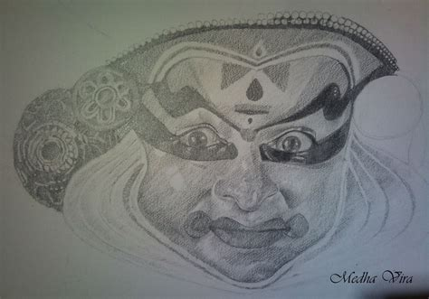 Kathakali Dance Pencil Drawing