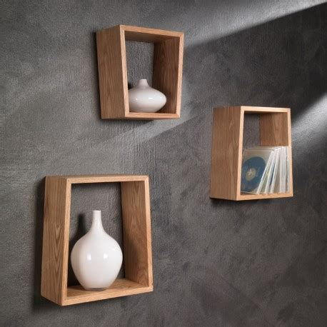mensole muro set di tre mensole trapezio a muro in legno naturale