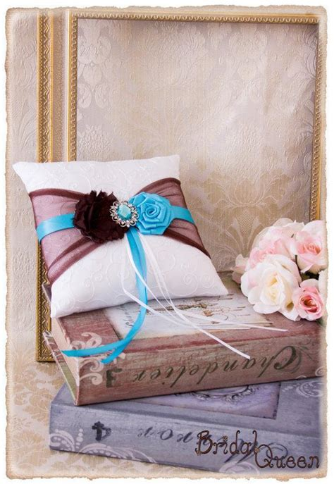 brown and turquoise ring bearer pillow wedding ring