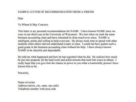 Reference Letter For Friend For College College Recommendation Letter Template From Friend