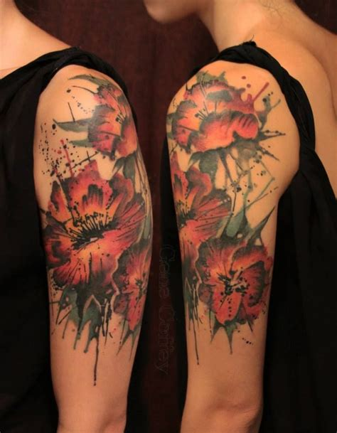 watercolor tattoo flower sleeve gene coffey flowers half sleeve tattooooooo