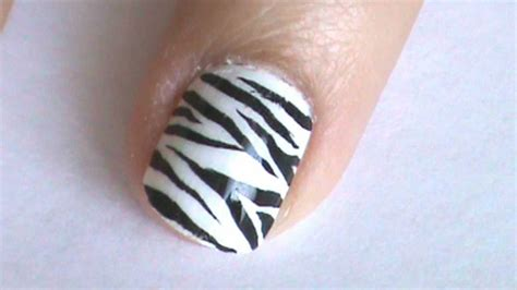 a simple and easy girly zebra nail art design finger zebra nail art design youtube