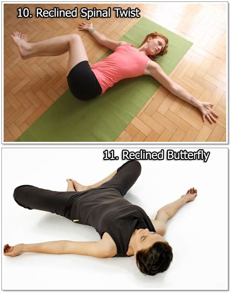 reclined spinal twist 54 simple yoga exercises for women to do at home or work