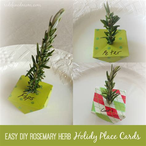 holiday place easy diy holiday dinner place cards using rosemary twigs