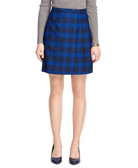 brothers wool tartan skirt in blue lyst