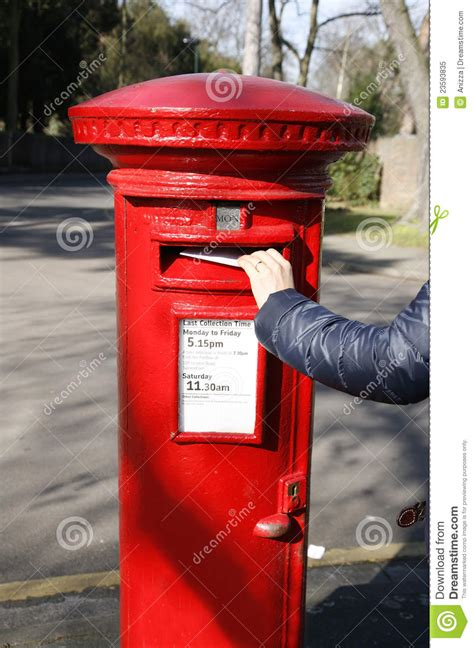 traditional british red post box stock image image