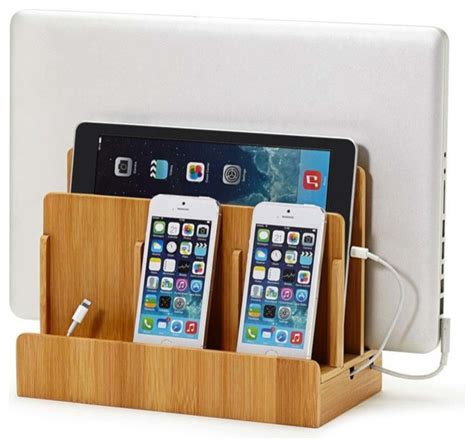 charging stations for phones bamboo multi device charging station dock modern