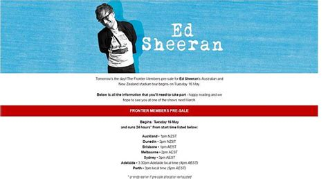 ed sheeran melbourne concert ed sheeran fans furious over pre sale tickets daily mail