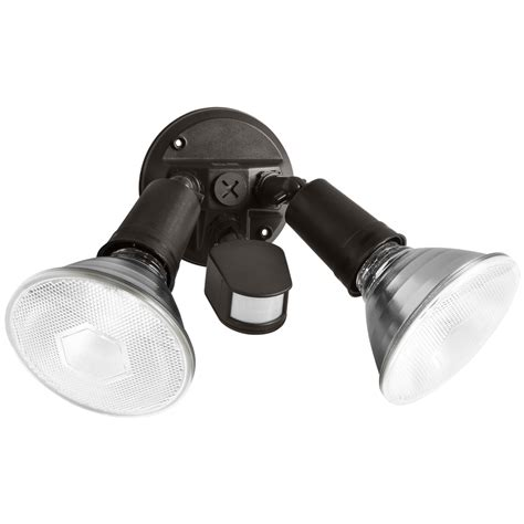 halogen motion sensor light shop utilitech 110 degree 2 head black halogen motion