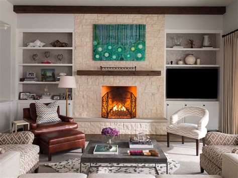 pretty mantel shelf in living room transitional with cedar