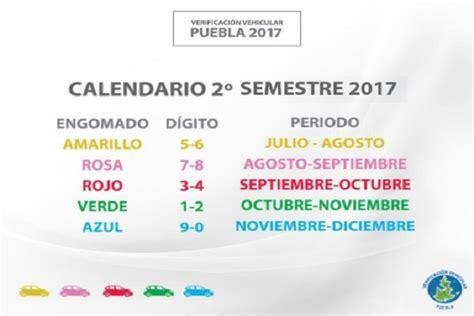este es el calendario de verificaci 243 n vehicular 2017