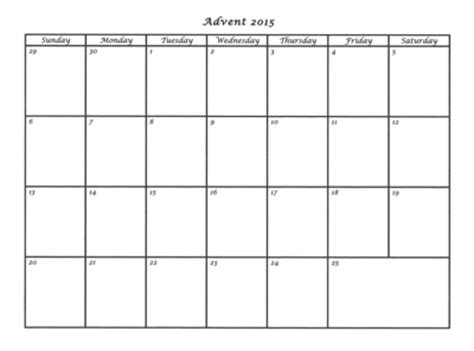 Calendar Box Advent Calendar Templates A Countup To Praying