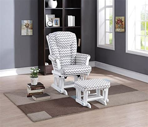 Grey Glider And Ottoman Set Home Deluxe Multi Position Sleigh Glider And Ottoman Set Gray Chevron White Furniture