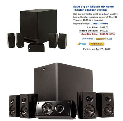 deal of the day 999 klipsch hd theater 1000 5 1 channel