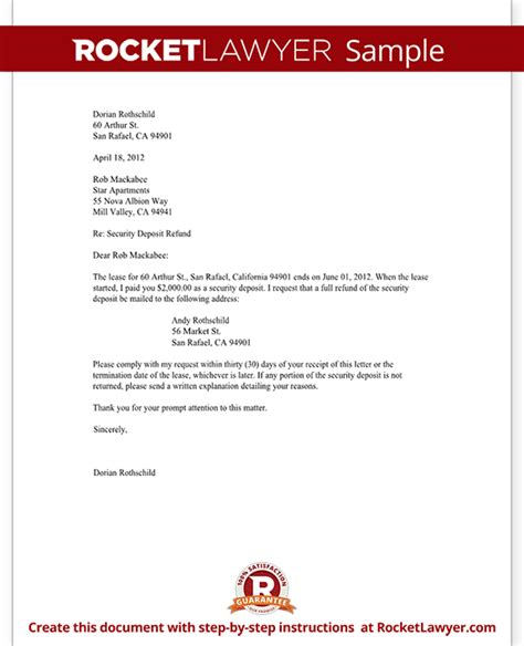Refund Letter Of Credit Tenant S Security Deposit Refund Letter Template With Sle