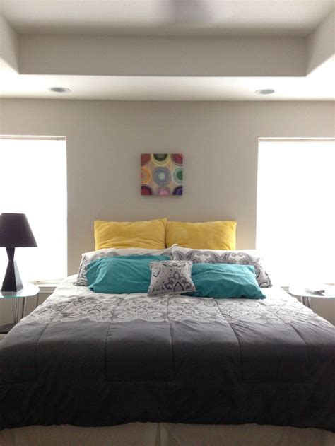 white grey yellow teal bedroom color inspiration