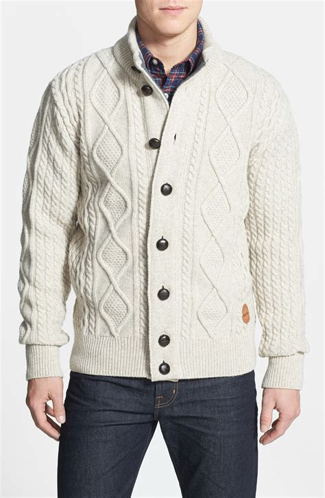 mens white cable knit sweater barbour kirkham cable knit button sweater in beige for