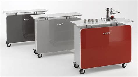 kaffeestation schrank mini theke cool rollen hochglanz in grafit grau oder rot