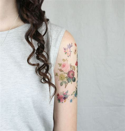 vintage floral tattoo vintage flowers pack 7 temporary tattoos etsy finds