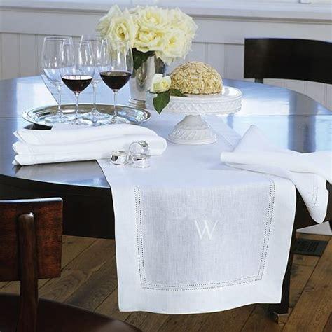 white linen table runner monogrammed hemstitched linen table runner white