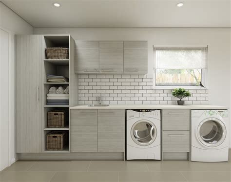 White Bathroom Ideas by Timberline Laundry Cupboards