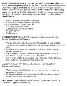 Construction Carpenter Sle Resume by Professional Construction Carpenter Templates To Showcase Your Talent Myperfectresume