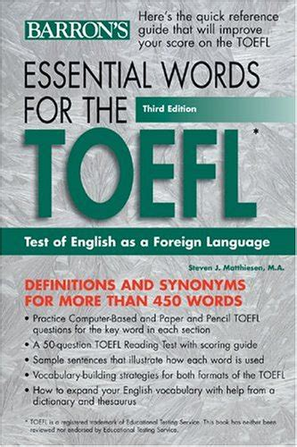 Essential Words For The Toefl 6th Ed essential words for the toefl by steven j matthiesen reviews discussion bookclubs lists
