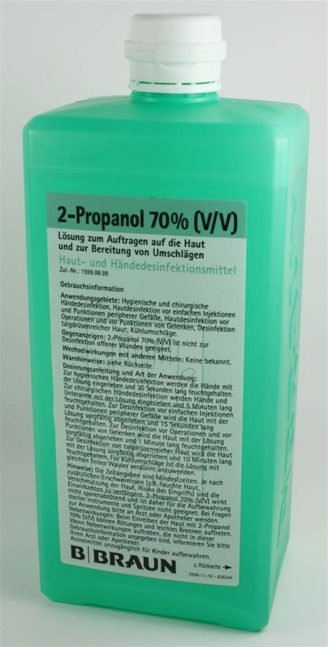 Alkohol 70 1 Liter Alkohol 70 Percent 1 Liter Disinfectant isopropanol alkohol 2 propanol 70 v v haut und h 228 ndedesinfektion 1 liter flasche b braun