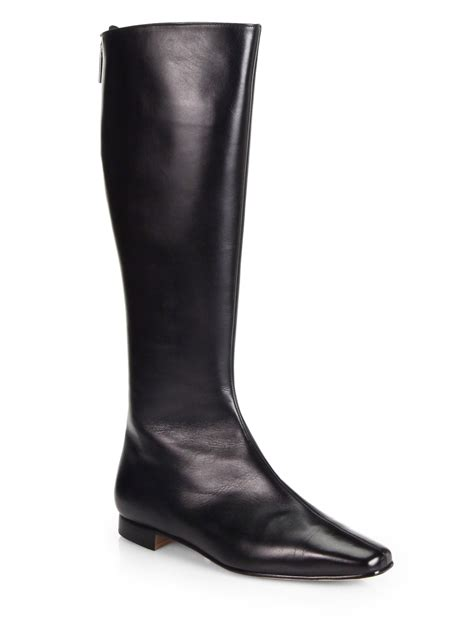 manolo blahnik boots manolo blahnik courrihi leather boots in black lyst