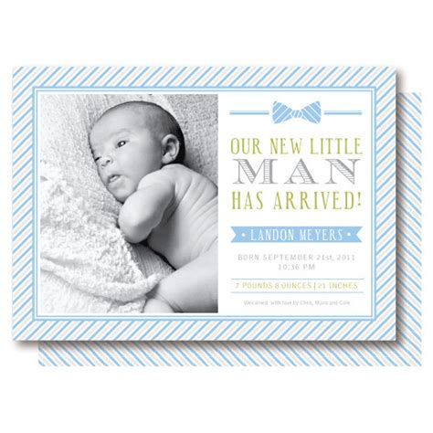 items similar to bow tie baby boy birth announcements on etsy