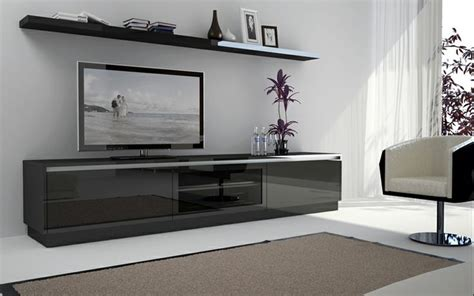 modern style living room with floating tv cabinet and
