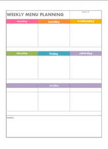blank menu planner template free printable weekly menu planning